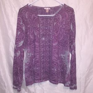 Beautiful long sleeved paisley knit shirt Sz L ⭐️